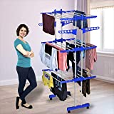KTS Heavy Duty Rust-Free Stainless Steel Double Pole Cloth Drying Stand | Clothes Dryer Stands | Laundry Racks with Wheels fo