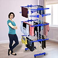 KTS Heavy Duty Rust-Free Stainless Steel Double Pole Cloth Drying Stand | Clothes Dryer Stands | Laundry Racks with…