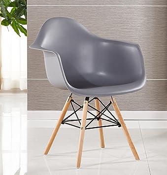 P U0026 N Homewares® Moda Wanne Stuhl Kunststoff Retro Esszimmer Stühle Weiß  Schwarz Grau Rot Gelb Grün Grau: Amazon.de: Küche U0026 Haushalt