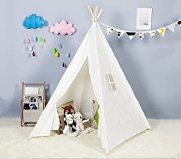 Steegic Outdoor and Indoor Great Canvas Indian Teepee Playhouse for Kids, White