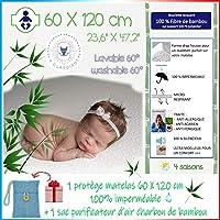 4 GUARDIANS🌙 Protege Matelas, Alèse Imperméable bébé 60X120 cm, Housse Anti acarien, Couvre Matelas Fibre 100% Bambou…