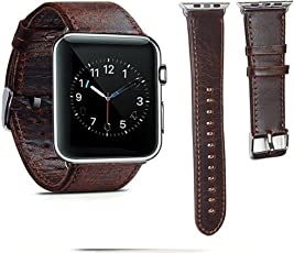 Shopizone 42mm Genuine Leather Replacement Watchband Strap for Apple i Watch Series 1 2 & 3(Dark Brown) (Watch not Included)