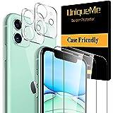 "[4 Pack] UniqueMe 2 Pack Protector de Pantalla Compatible con iPhone 11 (6.1"") y 2 Pack Protector de lente de cámara Cristal"