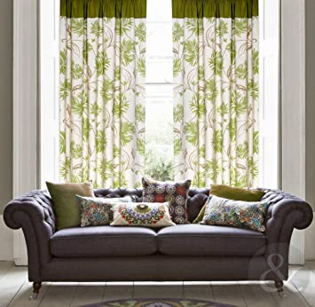 Green Curtains amazon green curtains : Just Contempo Floral Cotton Canvas Eyelet Lined Curtains, Green ...