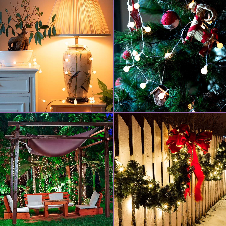 Guirnalda De Bolas De Luz Led Decorativas Para Arbol De Navidad Bodas Fiestas Cadena De Luces Blancas A Pilas Con Mando Bombillas Para