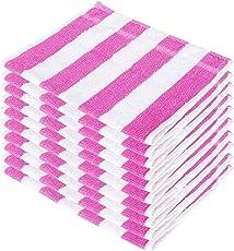 SHAMBHAVI 300 GSM 10 Piece Cotton Hand Towel Set - Pink & White