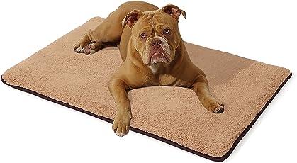 """brunolie """"Finn"""" Hundematte, waschbar, hygienisch und Rutschfest, weiche Hundedecke mit kuscheligem Plüsch für Hunde & Katzen, Beige & Grau, Größe S-L"""