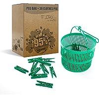 REMAKE Panier a Linge Plastique + Pinces à Linge 30 Pieces. Plastique à 95% Recyclé, Grande Taille. Made in Italy…