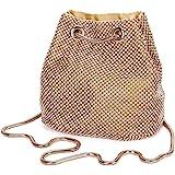 Damen Abendtasche Clutch Umhängetasche Kleine Pailletten Handtasche Schultertasche Kette Tasche für Hochzeit Party Disko - Go