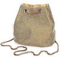 Damen Abendtasche Clutch Umhängetasche Kleine Pailletten Handtasche Schultertasche Kette Tasche für Hochzeit Party Disko…