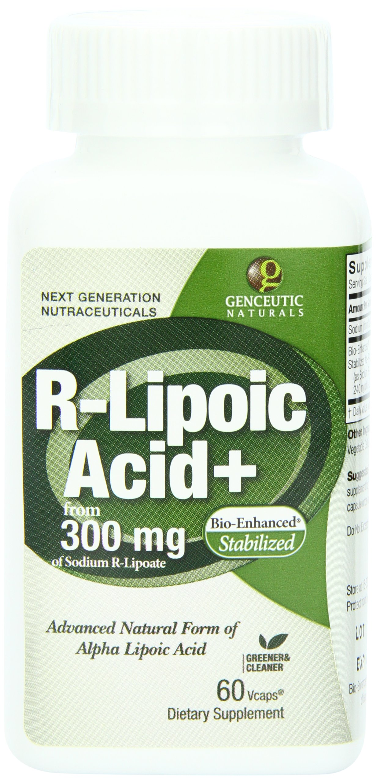 81K Paik8lL - Genceutic Naturals R-Lipoic Acid 300 Mg, 60-Count