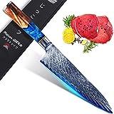 Jikko® Nouveau Couteau de Chef Japonais en Acier Damas Haut de Gamme 33 cm - Couteau de Cuisine avec Manche en Bois d'Érable
