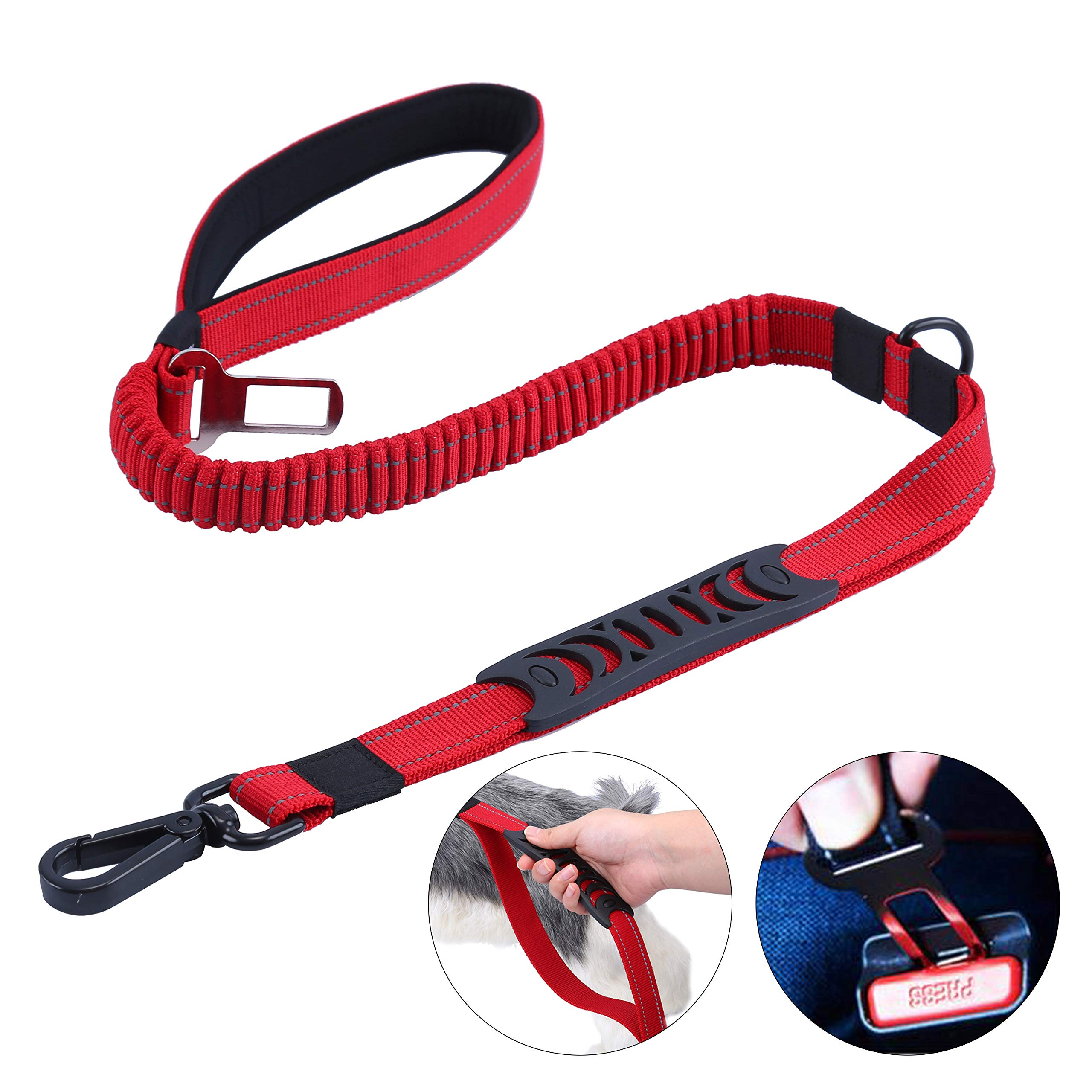 HAPPY HACHI Bungee Dog Lead Shock Absorber, Strong Leash Stretch from 3.6FT to 4.9FT Long with Car Seat Belt Buckle, Reflective Anti Pull Lead for Control Safety Training (Red)
