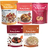 Nutty Gritties Mixed Dry Fruits Combo Pack of 18 Nuts, 1.15Kg - Sports Mix, Mix Berries, Seeds Mix, Mom Superfood Mix and Dry