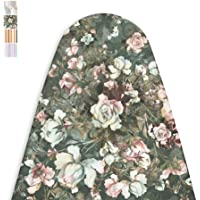 Encasa Homes Ironing Board Cover with 4mm Extra Thick Felt Pad for Steam Press - Green Roses - (Fits Standard Wide Boards of 125 x 46 cm) Elastic Fitting, Heat Reflective, Protective