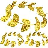 meekoo Corona Romana Corona di Foglie d'oro Copricapo Romano Fascia per Foglie Copricapo Toga (3 Pezzi, Tessuto a Maglia)