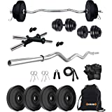Kore PVC 10 Kg Home Gym Set with Gym Rods + One Pair Dumbbell Rods with Accessories