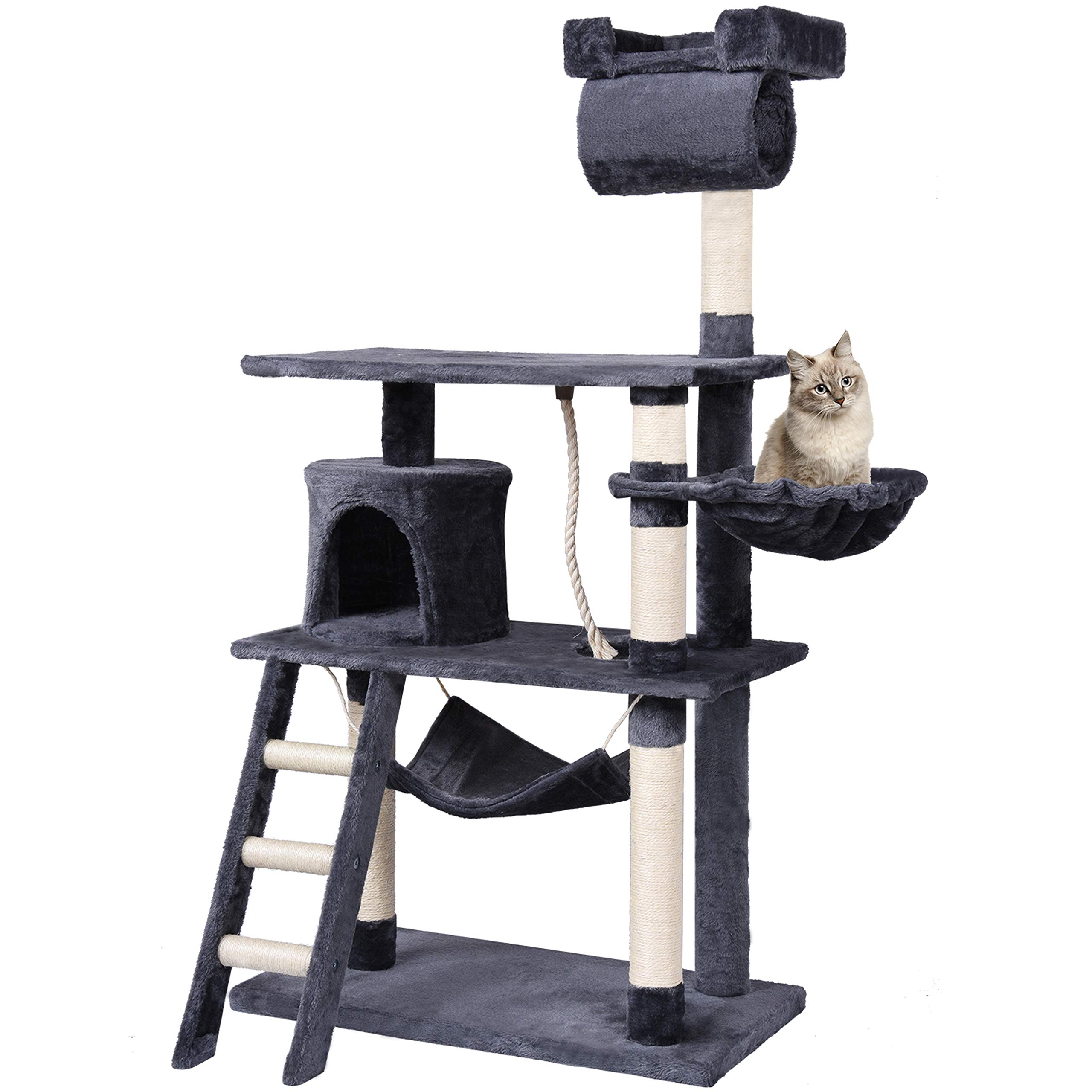 Centro de actividades para gatos con poste rascador y escalador en forma de castillo, 141 cm, en colores beis y gris