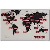 Nextime 2897 World Time Digit Mappamondo con Fusi Orari da Parete [Importato da Unione Europea e Regno Unito], multicolore, a