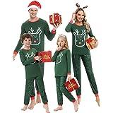 Aibrou Pijamas de Navidad para Familia,Top de Alce Manga Larga y Pantalones de Reno,Conjunto Pijama de Pareja,Pijamas de Padr