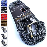 Premium Braided Guitar Cable: 10m / 30ft Mono 1/4 inch Jack Lead for Bass, Electric, Keyboard, Amp etc.