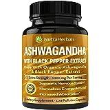Organic Ashwagandha Root Powder 1200mg - 120 Pullulan Organic Capsules - Ashwaganda Supplement – Black Pepper Extract for Inc
