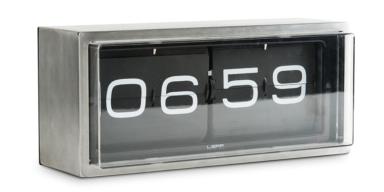 leff amsterdam brick stainless steel 24 hours wall desk clock black amazoncouk kitchen home - Designer Desk Clock