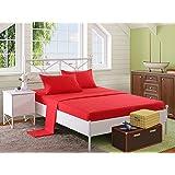 ملاية سرير بأستك 160 × 200 سم مع 2 كيس خدادية 50×70 سم من سنوز، احمر