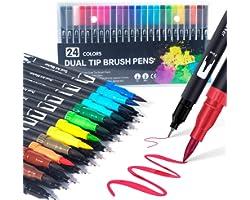 Dual Brush Pen Set: Filzstifte 24 Farben Pinselstifte Marker Fineliner Set Aquarell Farben Für Bullet Journal, Malbücher, Han