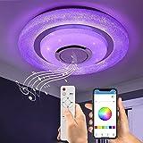 Wayrank Plafonnier Led RGB avec Haut-parleur Bluetooth, 36W Lustre LED Dimmable avec Télécommande et Contrôle APP, Eclairage