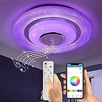 Wayrank Plafonnier Led RGB avec Haut-parleur Bluetooth, 36W Lustre LED Dimmable avec Télécommande et Contrôle APP…