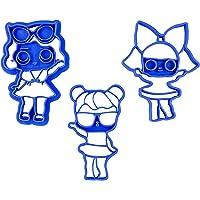 Set di 3 Tagliabiscotti a forma di bambole LOL (Leading Baby, Diva e Bon Bon)