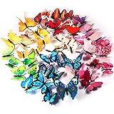 Foonii® 72 stuks 3D vlinders wanddecoratie stickers aftrekplaatjes, slagvaste kunststof vlinderdecoraties, wanddecoratie (12