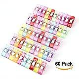 Lot de 50PCS Clips Pinces en Plastique pour Reliure Couture Artisanat Couleurs Assorties 2.7 * 1 * 1.5CM