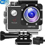 Victure Action Cam WIFI Videocamera Impermeabile Full HD 1080P Cam Subacquea Fotocamera Profondità 30m Schermo LCD da 2 polli