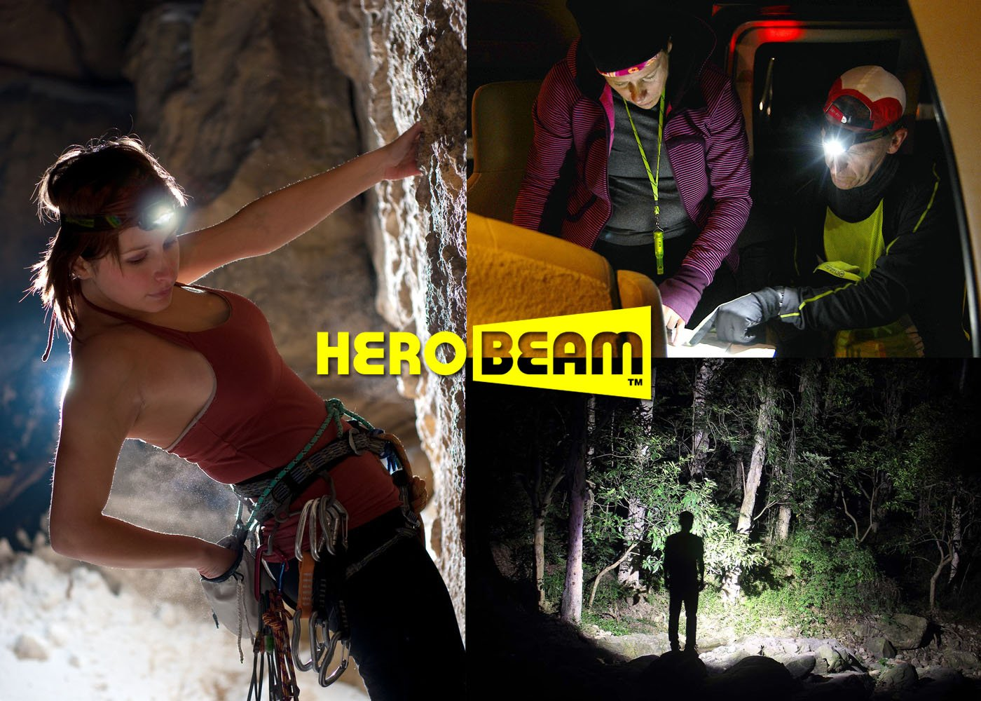 HeroBeam® Ultimate Head Torch – USB Rechargeable Headlamp for Running, Dog Walking, Biking, Camping, Reading, Homecrafts, Cycling or DIY – Hands Free ON/OFF Mode - Lightweight and Weatherproof 3