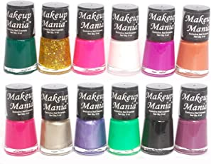 Makeup Mania Rich Color Nail Polish Enamels Combo (White, Black, Green, Red, Silver, Golden etc, Pack of 12)
