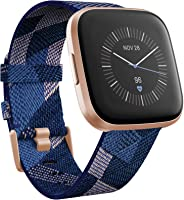 Fitbit FB507RGNV Versa 2 SE (NFC) Smartwatch - Navy & Pink Woven Band/Copper Rose Aluminium Case