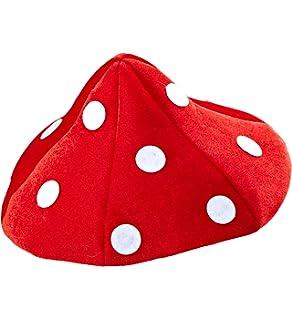 Foxxeo Sgabello Cappello a spalliera Cappello a spalliera Cappello a Fungo Fortunato Cappello a Fungo Rosso punteggiato Bianco per Le Signore Uomini Carnevale Bambini Carnevale