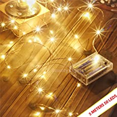 Beauty Lights Copper String Lights 3 Aa Battery Operated Portable Led String Lights,(5 Meters 50 Led)