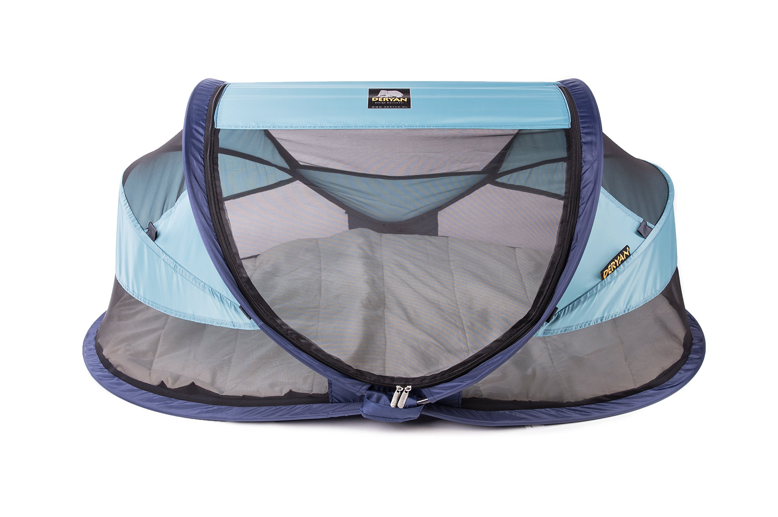 Travel Cot Baby Luxe (Ocean) Deryan 50% UV Protection and flame retardant fabric Setup in 2 seconds and a anti-musquito net  1
