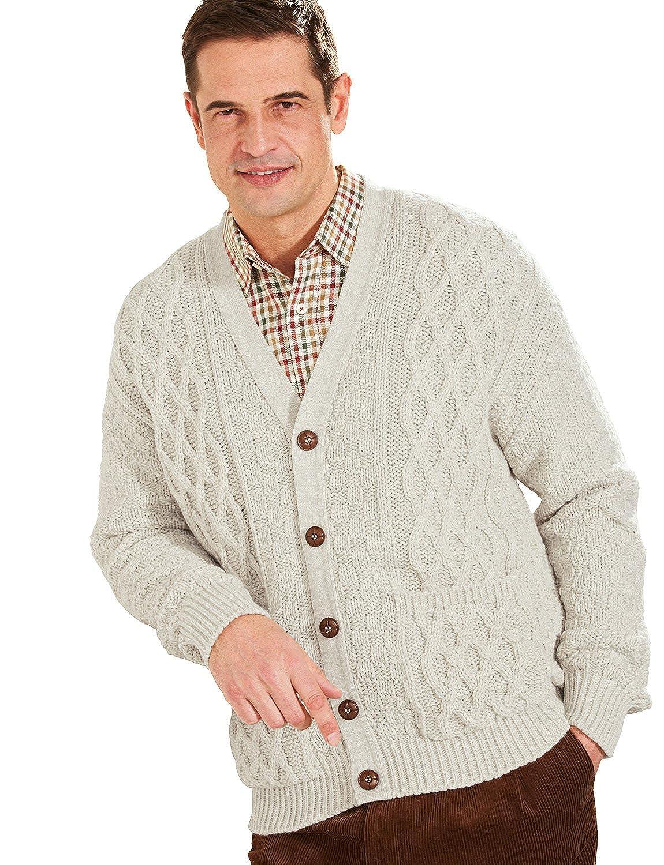 Mens Aran Style Knitwear Cardigan: Amazon.co.uk: Clothing