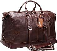 Iblue weekender overnight duffel bag genuine leather travel luggage tote vintage gym handbag H002 (brown)