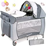 Hello-5ive 2-in-1 Travel Cot Toddler Bed, Portable Foldable Playpen with Changing Table Waterproof Mattress, Baby Crib…