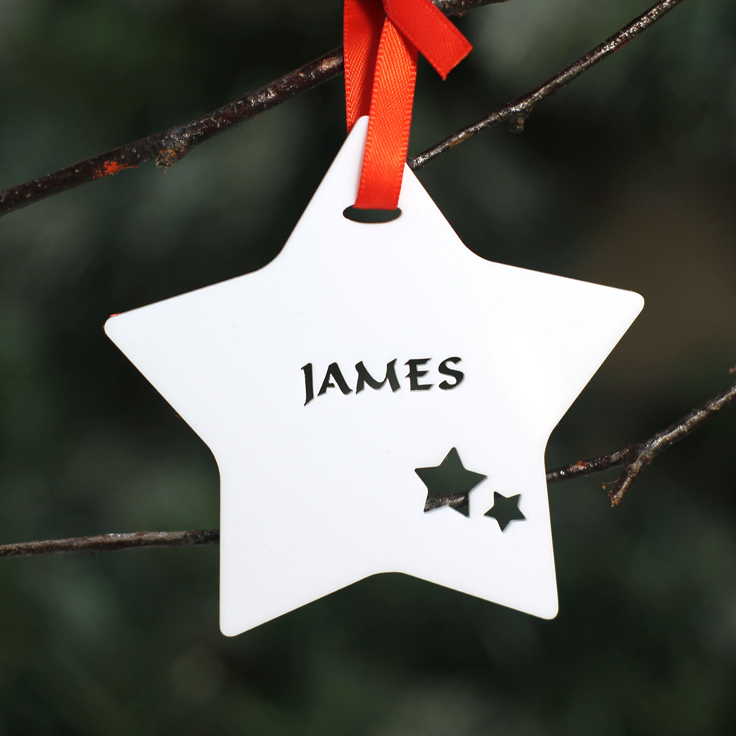 Personalised Custom White Christmas Tree Star Bauble Festive Decoration Ornament Decorations Best Balls Personalise Name With Handmade Xmas O