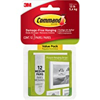 Command Medium Picture Hanging Strips, Pack of 12 x 2 Adhesive Strips, White - Damage Free Hanging - For Pictures…