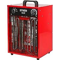 STIER Basic Heizlüfter, elektrisch, Heizleistung von 9,0 kW, Luftleistung 1150 m³/h, Heizgebläse mit 3 Heizstufen…