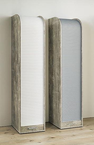Rolladenschrank weiß  Büroschrank Rolladenschrank mit 5 Fächern H190 x B45 x T40 - Grau ...