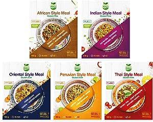 Veggie&Nature, Sapori dal mondo, Set con piatto in stile indiano (216 g), africano (180 g), orientale (180 g), peruviano (180 g) e thailandese (180 g)