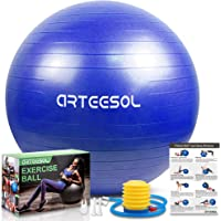 arteesol Exercise Ball, Gym Ball Anti-Burst Yoga Ball, 45cm/55cm/65cm/75cm/85cm Extra Thick Swiss Ball with Pump, for…